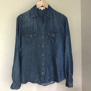 Cloth & Stone Chambray Denim Button Down Top XS